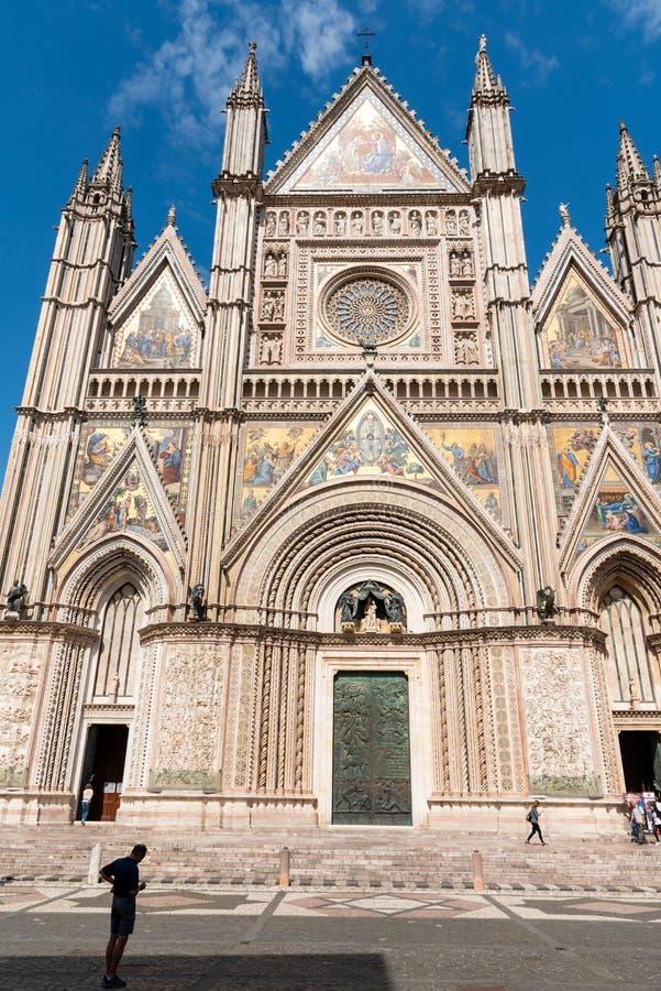 Πρόσοψη του Καθεδρικού Ναού του Ορβιέτο στην Ούμπρια, Κεντρική Ιταλία στοκ εικόνες με δικαίωμα ελεύθερης χρήσης