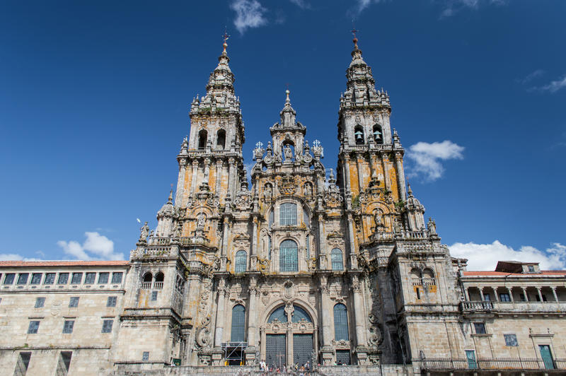 Πρόσοψη του καθεδρικού ναού Σαντιάγο de Compostela στοκ φωτογραφίες με δικαίωμα ελεύθερης χρήσης