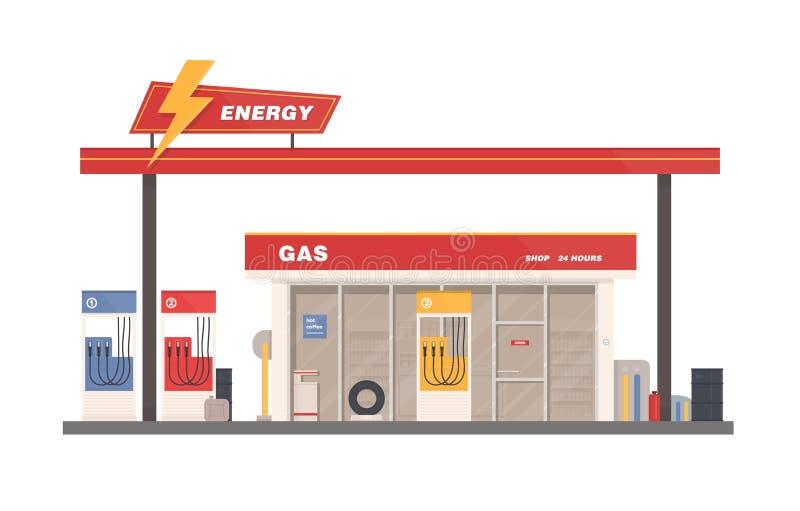 Πρόσοψη του κτηρίου της βενζίνης, του αερίου ή του πρατηρίου καυσίμων που απομονώνονται στο άσπρο υπόβαθρο Πωλώντας καύσιμα ή βεν απεικόνιση αποθεμάτων