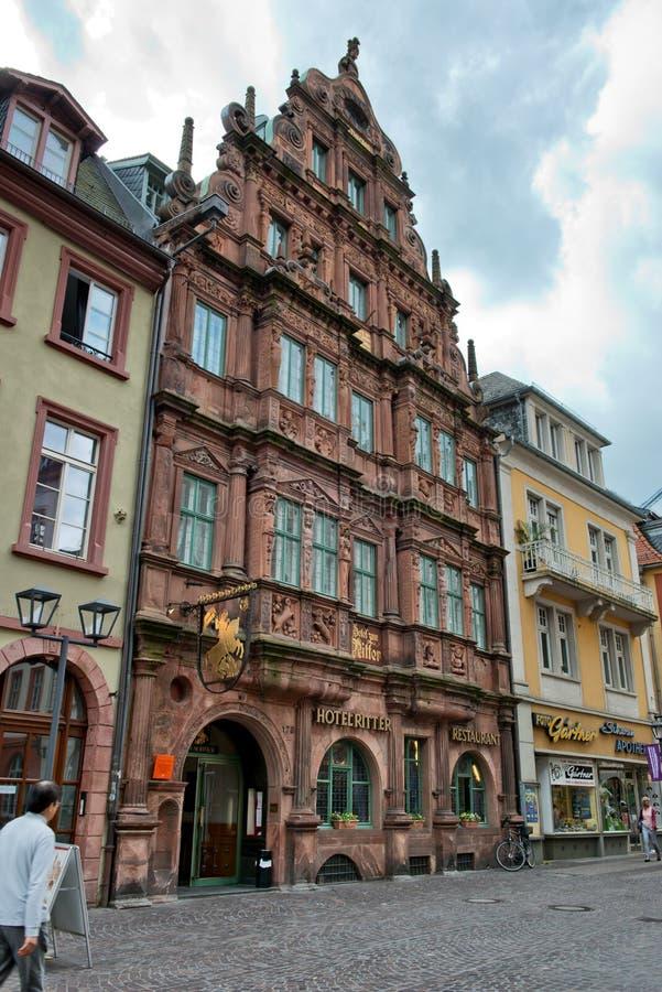 Πρόσοψη του ξενοδοχείου Ritter στη Χαϋδελβέργη, Γερμανία στοκ φωτογραφίες