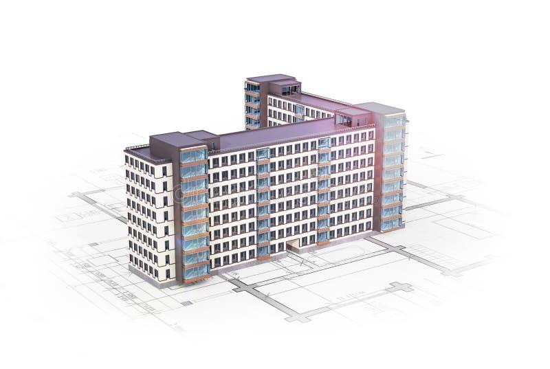 Πρόσοψη των νέων πολυκατοικιών που βρίσκονται στο αρχιτεκτονικό σχέδιο ελεύθερη απεικόνιση δικαιώματος