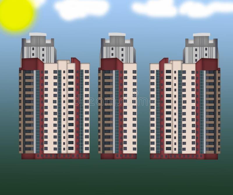Πρόσοψη ψηλά κατοικημένα κτήρια απεικόνιση αποθεμάτων