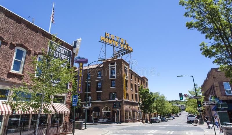 Πρόσοψη Vista Monte ξενοδοχείων στο κέντρο Flagstaff, Αριζόνα στοκ εικόνα