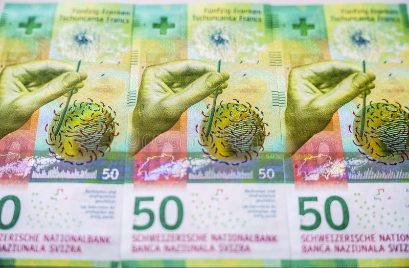 Πρόσφατα 50 ελβετικοί λογαριασμοί φράγκων στοκ εικόνα