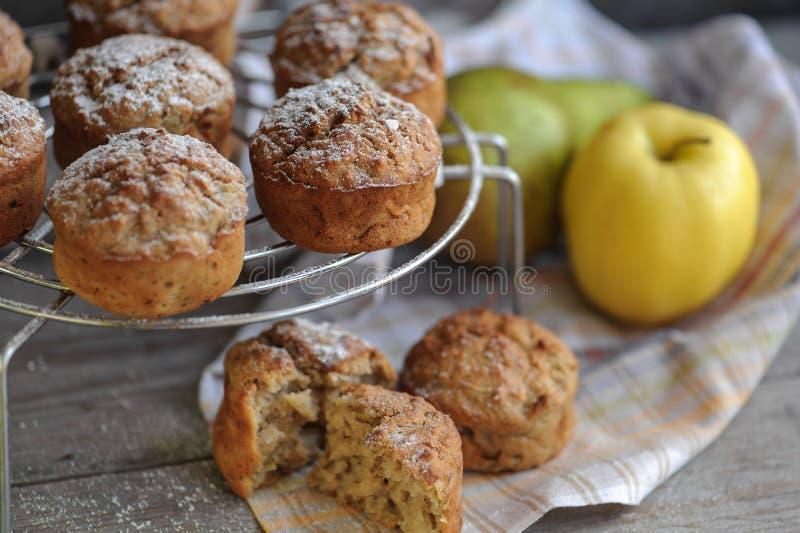 Πρόσφατα ψημένα muffins με το αχλάδι και το μήλο στοκ εικόνες