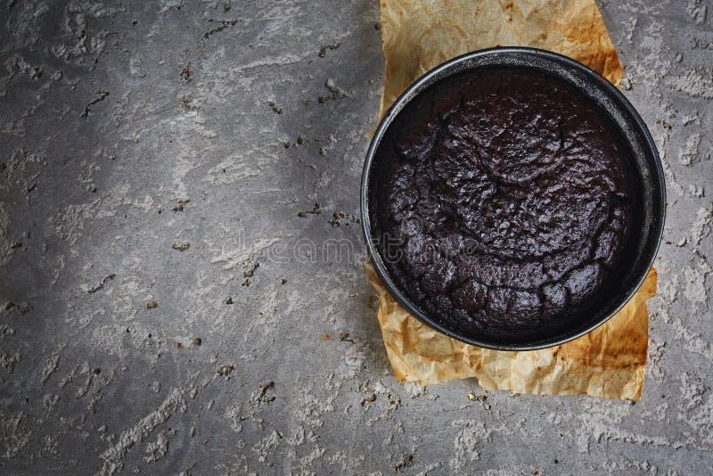 Πρόσφατα ψημένο κέικ σφουγγαριών με το κακάο στο γκρίζο συγκεκριμένο σκηνικό στοκ εικόνα με δικαίωμα ελεύθερης χρήσης