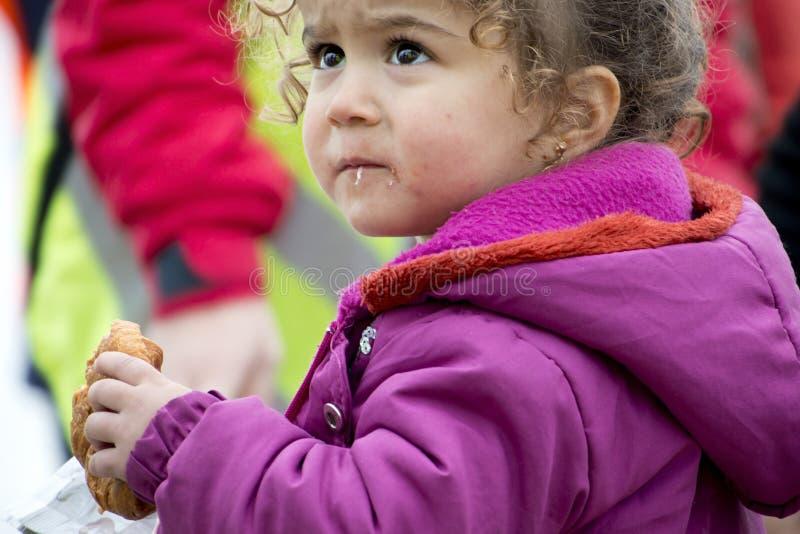 Πρόσφυγες που φθάνουν στη Λέσβο στοκ εικόνες με δικαίωμα ελεύθερης χρήσης