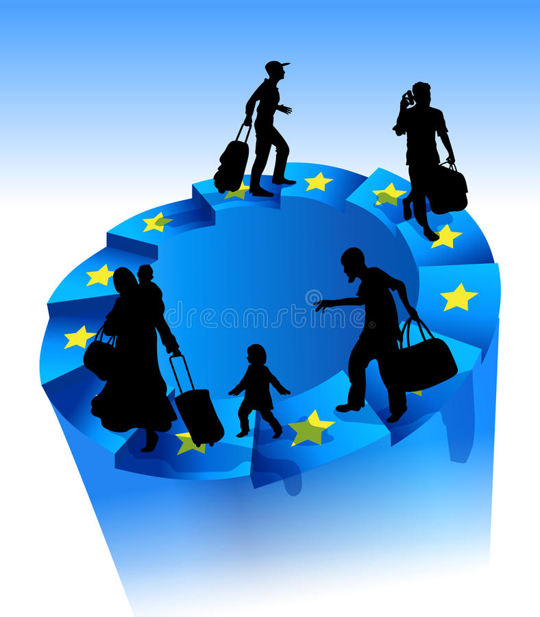 Πρόσφυγες σε μια ατελείωτη κυκλική σκάλα Τα αστέρια της Ευρωπαϊκής Ένωσης στα βήματα Η έννοια της παράνομης μετανάστευσης διανυσματική απεικόνιση