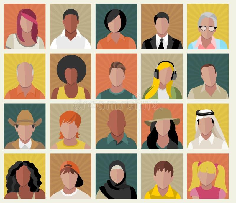 Πρόσωπα ανθρώπων κινούμενων σχεδίων ελεύθερη απεικόνιση δικαιώματος