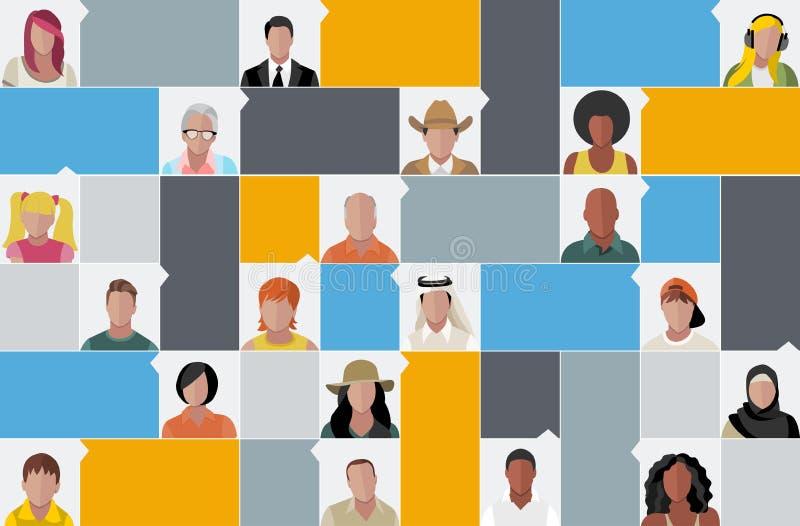 Πρόσωπα ανθρώπων κινούμενων σχεδίων διανυσματική απεικόνιση