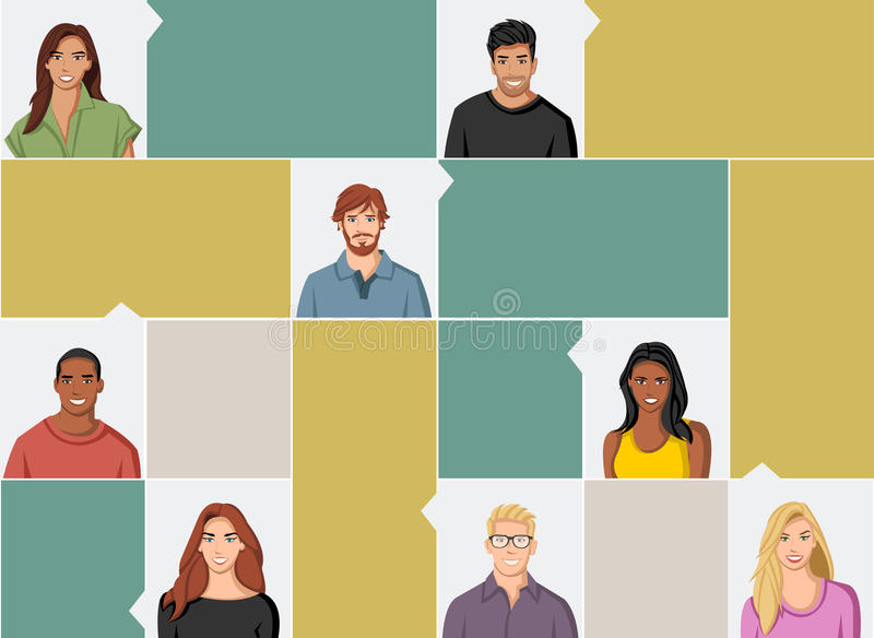 Πρόσωπα ομάδας ανθρώπων ελεύθερη απεικόνιση δικαιώματος