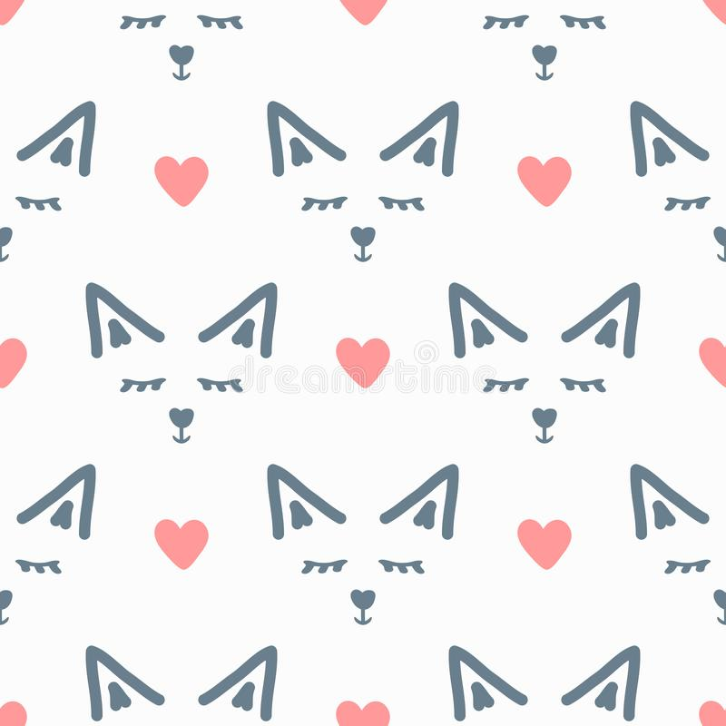 Πρόσωπα του αφηρημένων ζώου και των καρδιών χαριτωμένο πρότυπο άνευ ραφής Συρμένος με το χέρι διανυσματική απεικόνιση