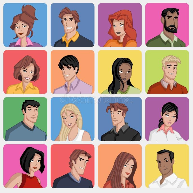 Πρόσωπα των ανθρώπων κινούμενων σχεδίων διανυσματική απεικόνιση