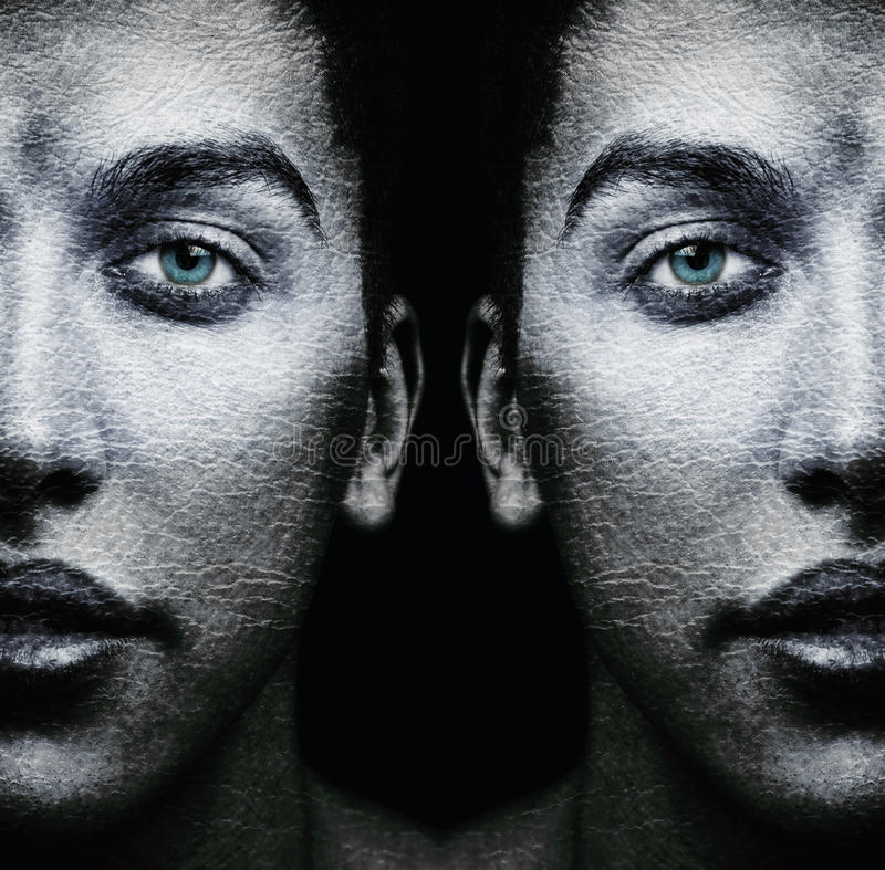 Πρόσωπα των αρσενικών διδύμων στοκ φωτογραφία