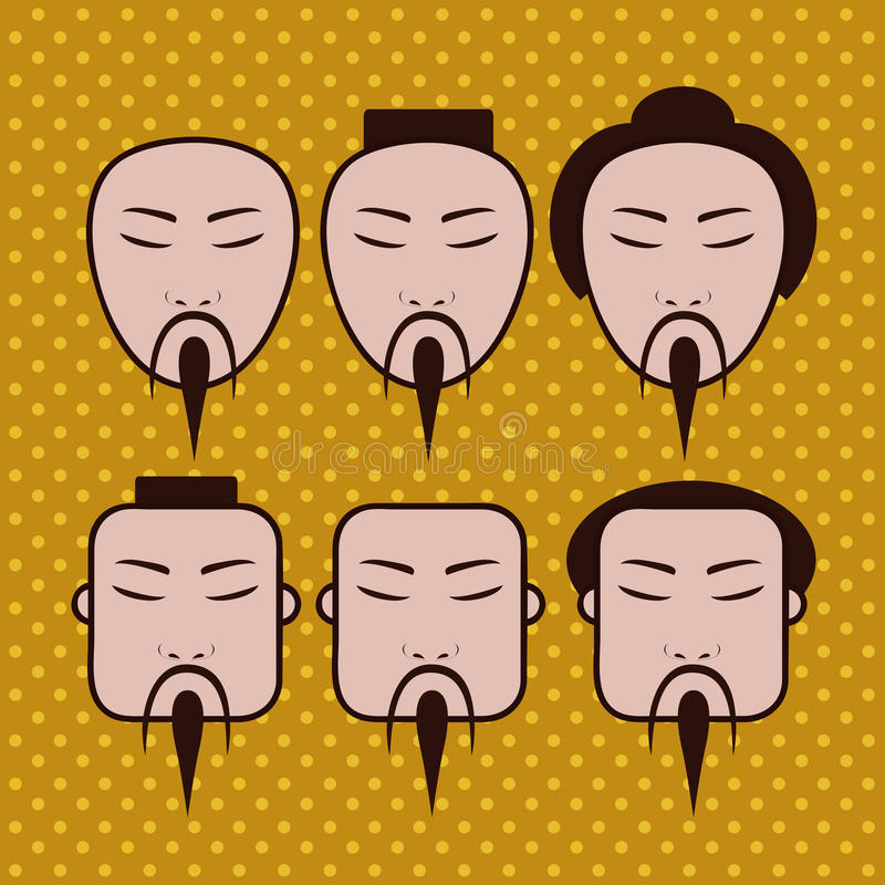 Πρόσωπα Japaneses ελεύθερη απεικόνιση δικαιώματος