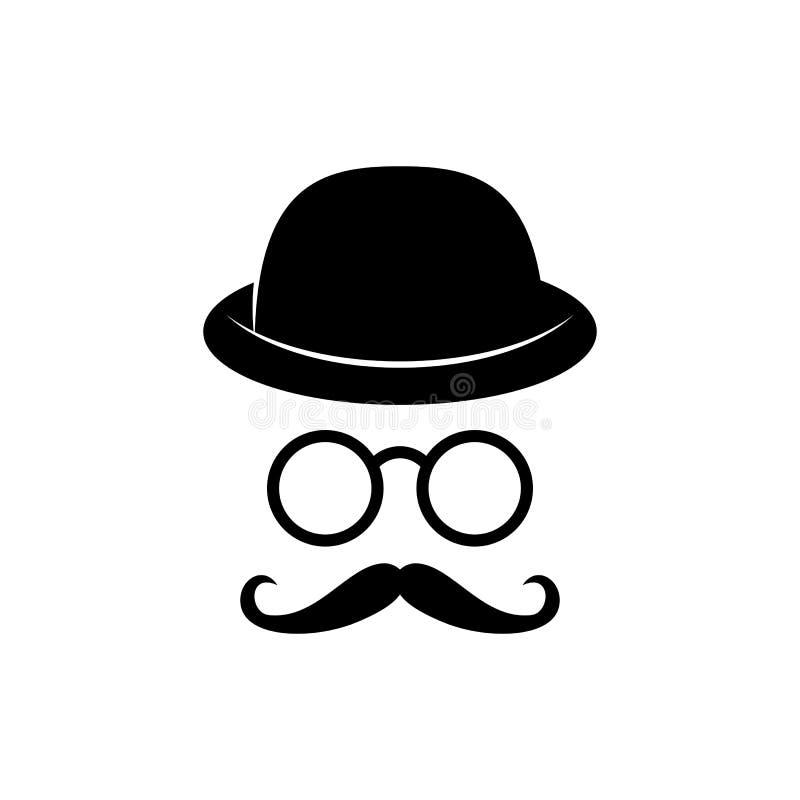 Πρόσωπο ατόμων με τα γυαλιά, mustache και το καπέλο Στηρίγματα φωτογραφιών κύριος detective διάνυσμα ελεύθερη απεικόνιση δικαιώματος