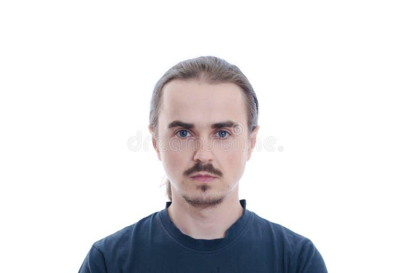 Πρόσωπο ατόμων με τη γενειάδα και moustache Απομονωμένος στο άσπρο πορτρέτο ατόμων υποβάθρου στοκ φωτογραφίες με δικαίωμα ελεύθερης χρήσης