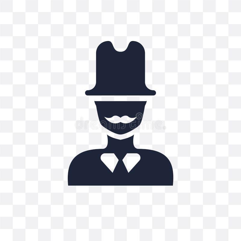 Πρόσωπο ατόμων με το διαφανές εικονίδιο τοπ καπέλων Πρόσωπο ατόμων με το τοπ καπέλο sy διανυσματική απεικόνιση