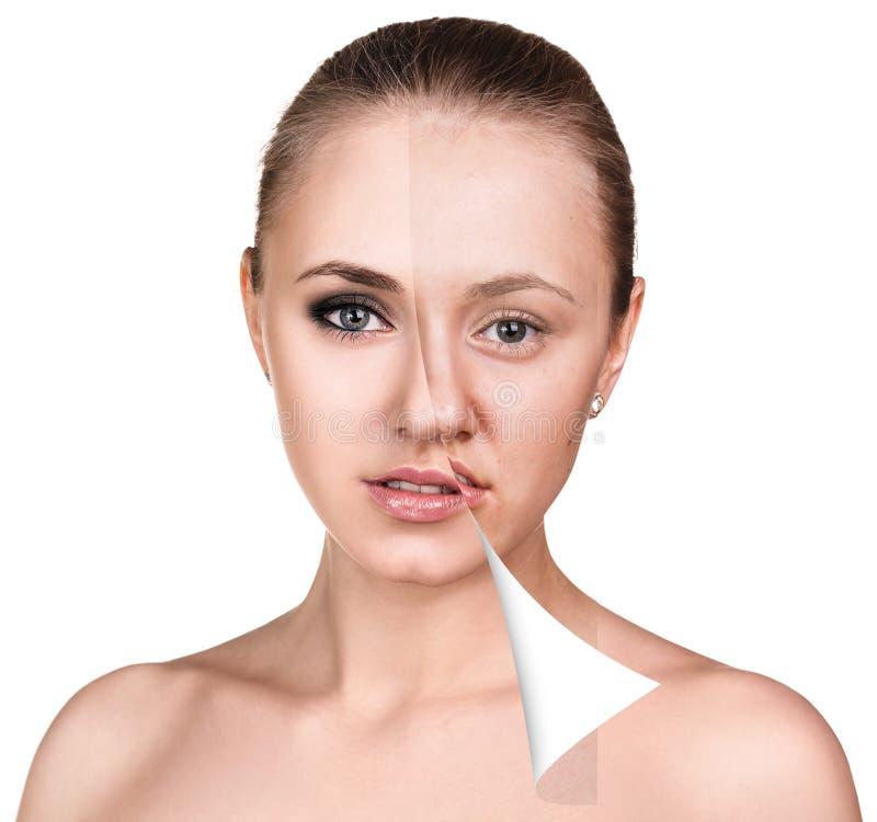 Πρόσωπο γυναικών πριν και μετά από το ρετουσάρισμα στοκ εικόνες