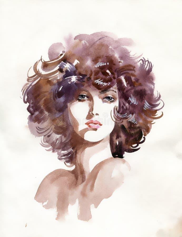 Πρόσωπο γυναικών. Χρωματισμένη χέρι απεικόνιση απεικόνιση αποθεμάτων