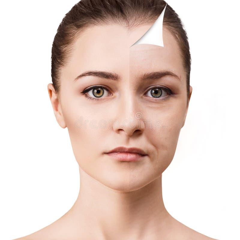 Πρόσωπο γυναικών ` s πριν και μετά από την αναζωογόνηση στοκ εικόνες