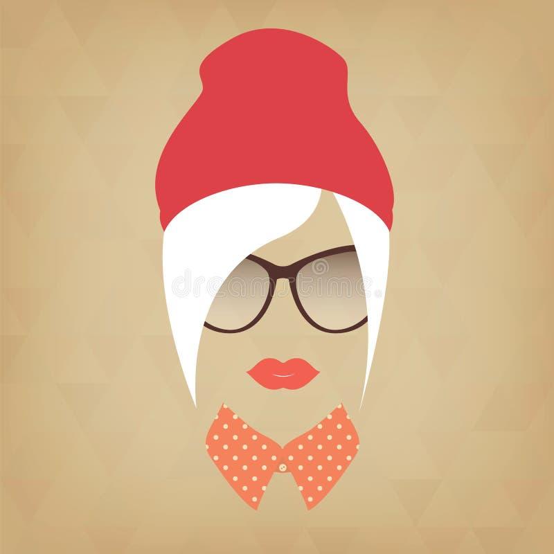 Πρόσωπο ενός όμορφου κοριτσιού hipster απεικόνιση αποθεμάτων