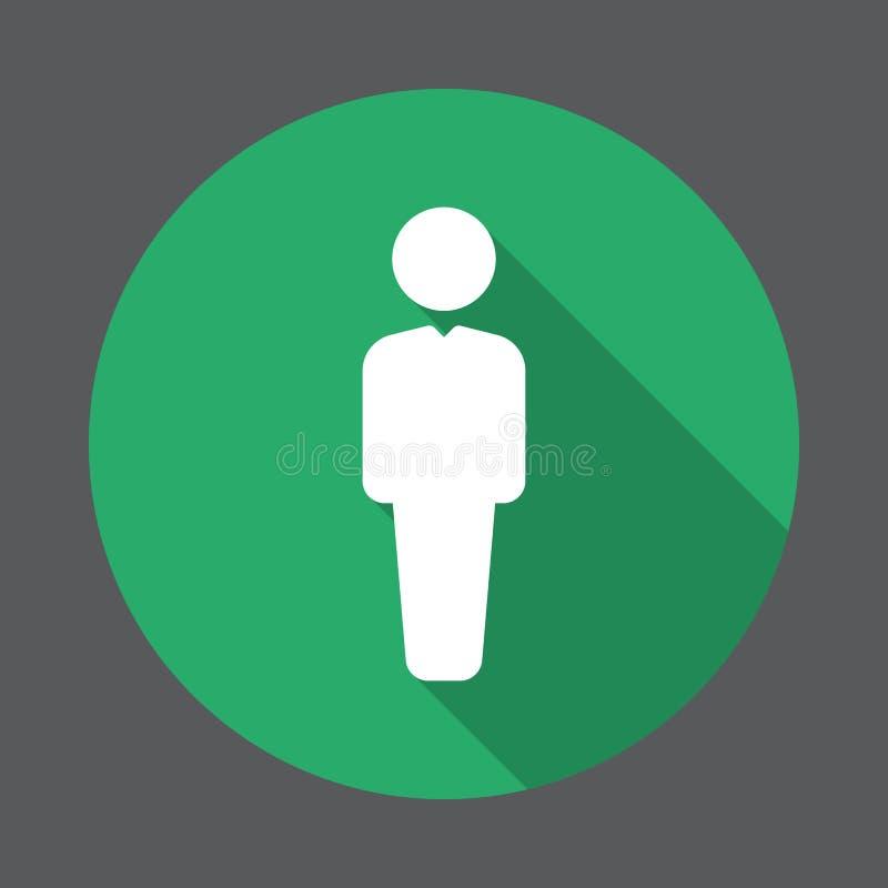 Πρόσωπο, επίπεδο εικονίδιο χρηστών Στρογγυλό ζωηρόχρωμο κουμπί, κυκλικό διανυσματικό σημάδι με τη μακροχρόνια επίδραση σκιών απεικόνιση αποθεμάτων