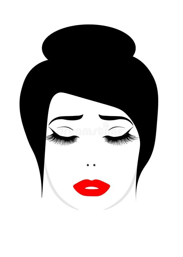 Πρόσωπο Ιστού της όμορφης νέας γυναίκας με τα μαστίγια διανυσματική απεικόνιση