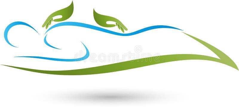 Πρόσωπο και δύο χέρια, μασάζ και naturopathic λογότυπο ελεύθερη απεικόνιση δικαιώματος