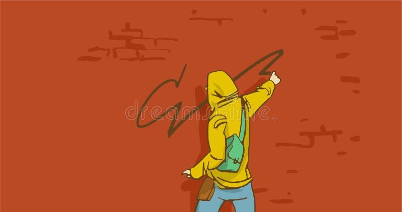 Πρόσωπο καλλιτεχνών οδών κινούμενων σχεδίων στη ζωγραφική Hoodie σε έναν τουβλότοιχο στοκ φωτογραφία με δικαίωμα ελεύθερης χρήσης
