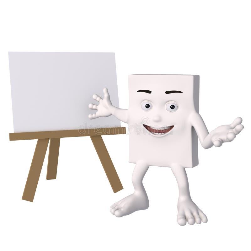 Πρόσωπο κινούμενων σχεδίων με κενό easel διανυσματική απεικόνιση