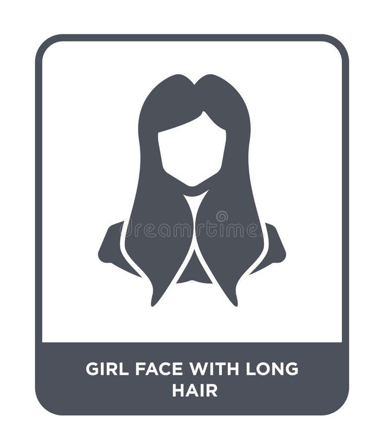 πρόσωπο κοριτσιών με το μακρυμάλλες εικονίδιο στο καθιερώνον τη μόδα ύφος σχεδίου πρόσωπο κοριτσιών με το μακρυμάλλες εικονίδιο π διανυσματική απεικόνιση
