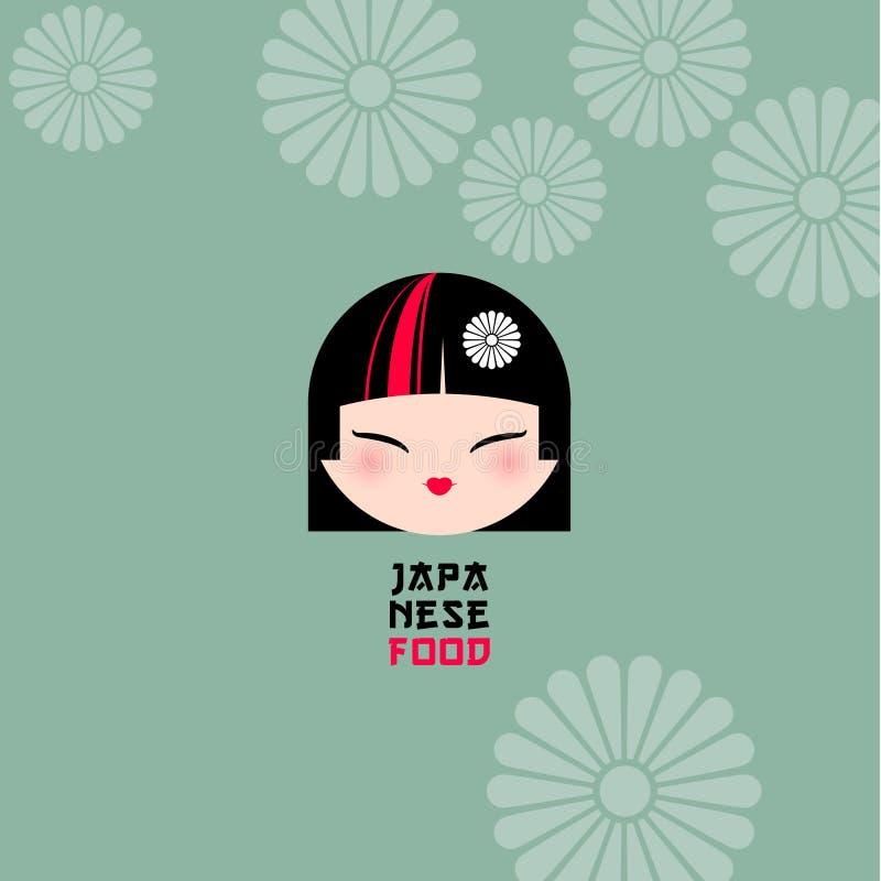 Πρόσωπο κοριτσιών Kawaii με το όμορφο ύφος τρίχας σε ένα υπόβαθρο με τα παραδοσιακά ιαπωνικά floral κίνητρα διανυσματική απεικόνιση