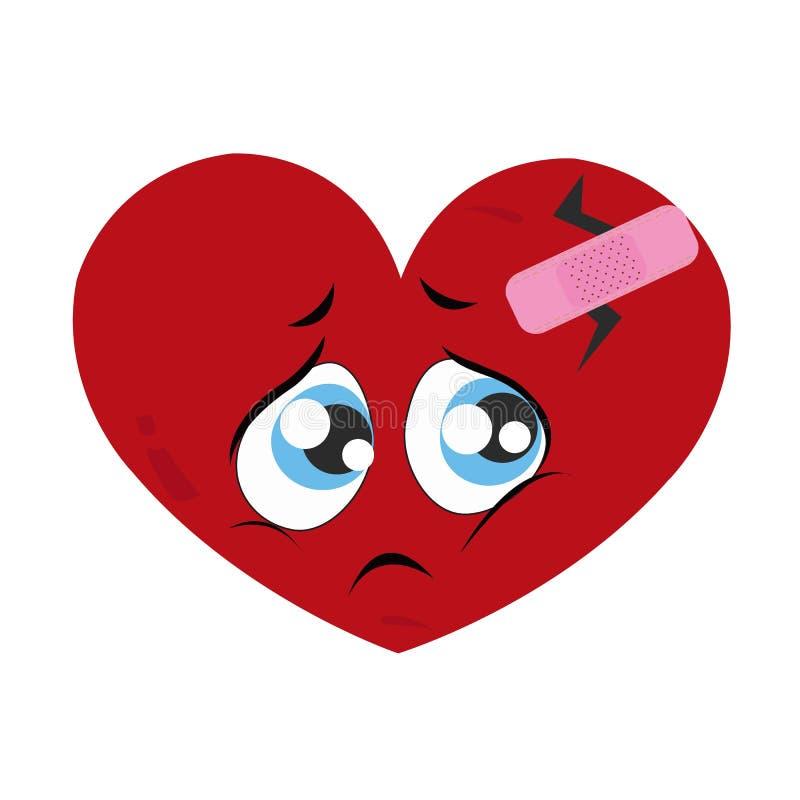 πρόσωπο λυπημένο καρδιά προσώπου λυπημένη φωνάζοντας πρόσωπο Ρομαντική ευχετήρια κάρτα ημέρας του μόνου βαλεντίνου διανυσματική απεικόνιση
