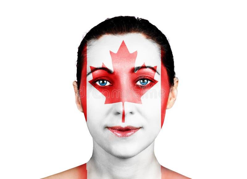 Πρόσωπο με την καναδική σημαία στοκ φωτογραφίες με δικαίωμα ελεύθερης χρήσης