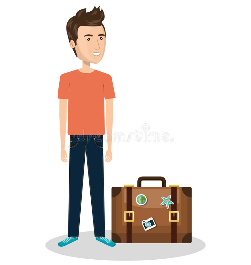 πρόσωπο με τη βαλίτσα ταξιδιού διανυσματική απεικόνιση