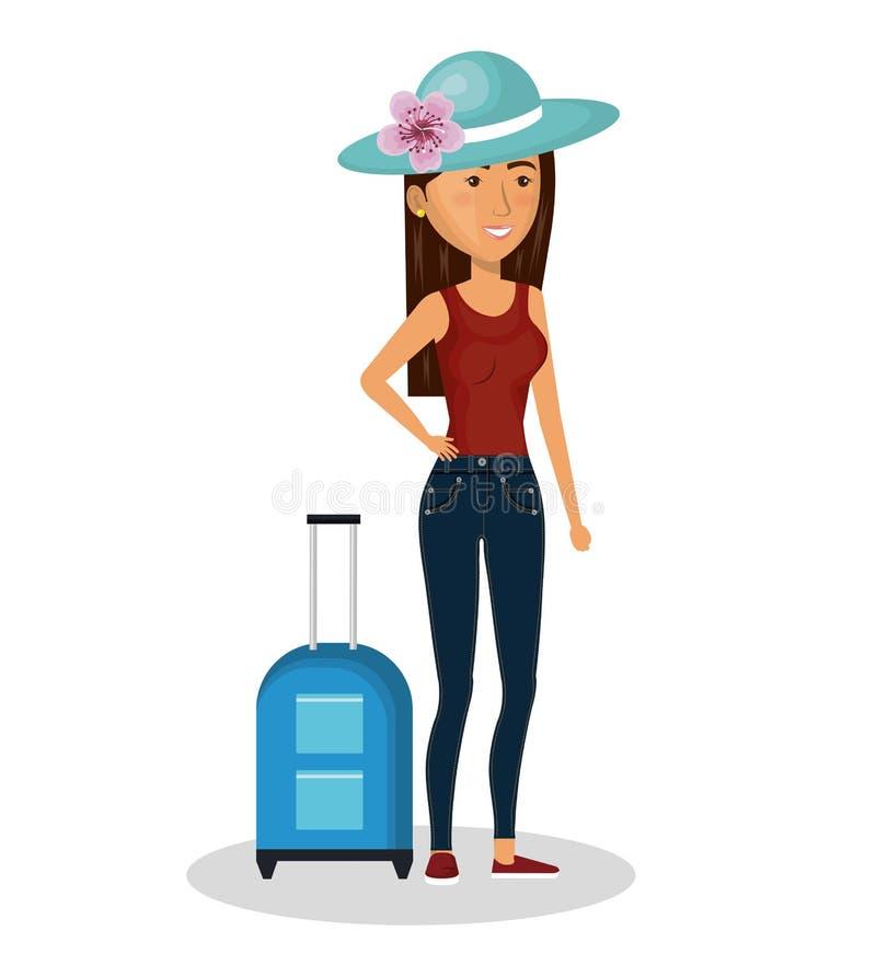 πρόσωπο με τη βαλίτσα ταξιδιού απεικόνιση αποθεμάτων