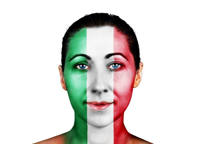 Πρόσωπο με τη σημαία της Ιταλίας στοκ εικόνες