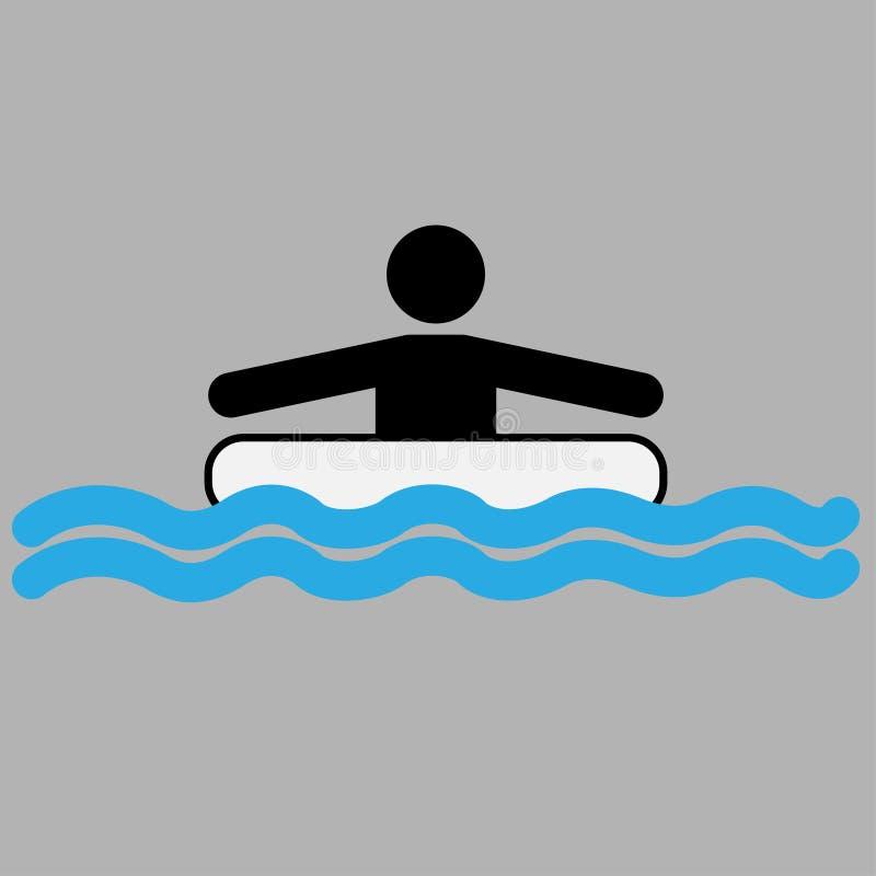 Πρόσωπο με το κολυμπώντας δαχτυλίδι στο νερό απεικόνιση αποθεμάτων