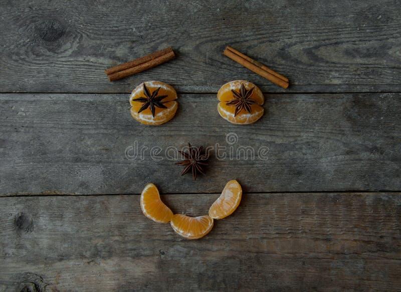 Πρόσωπο με το μανταρίνι, το γλυκάνισο και την κανέλα στο ξύλινο υπόβαθρο στοκ εικόνα