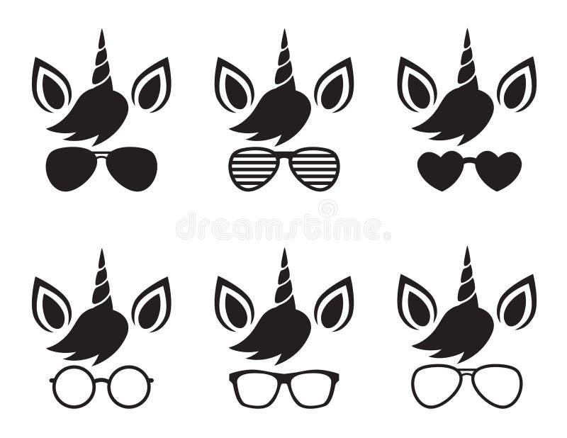 Πρόσωπο μονοκέρων που φορά το διάνυσμα σκιαγραφιών γυαλιών και γυαλιών ηλίου διανυσματική απεικόνιση