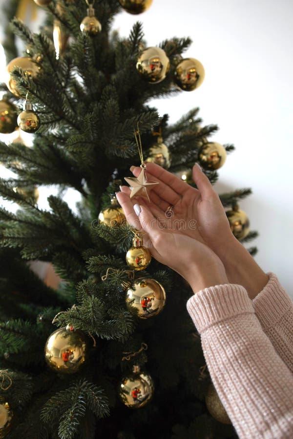 Πρόσωπο που διακοσμεί το χριστουγεννιάτικο δέντρο στοκ φωτογραφία