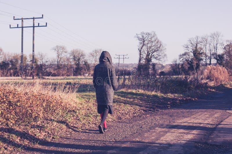 Πρόσωπο που περπατά στον αγροτικό δρόμο το χειμώνα στοκ φωτογραφίες