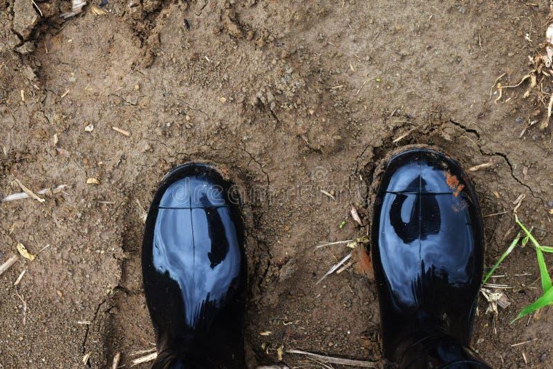 Πρόσωπο που περπατεί στη γυμνή έκταση Μπότα ασφάλειας για το περπάτημα στην αγροτική περιοχή Μαύρη πλαστική μπότα ρύπου στοκ εικόνες