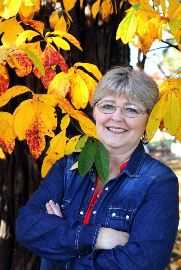 Πρόσωπο που πλαισιώνεται από τα κίτρινα φύλλα στοκ φωτογραφία με δικαίωμα ελεύθερης χρήσης