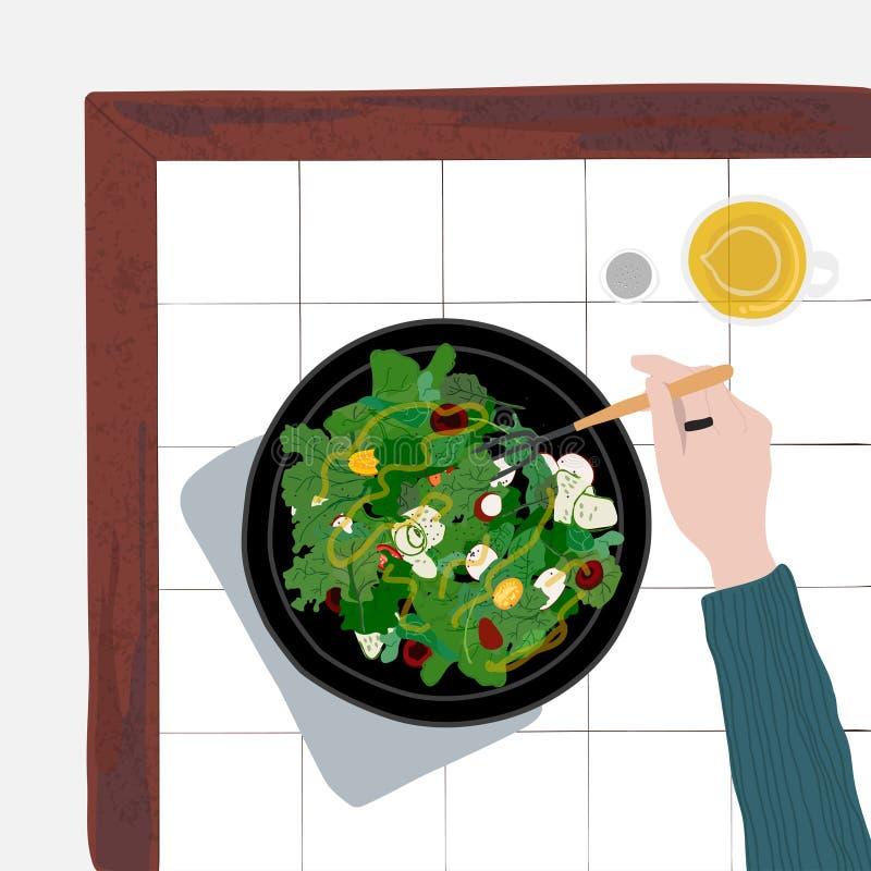 Πρόσωπο που τρώει μια υγιή σαλάτα ελεύθερη απεικόνιση δικαιώματος