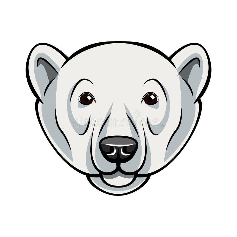 Πρόσωπο πολικών αρκουδών Απεικόνιση που απομονώνεται διανυσματική στο λευκό ελεύθερη απεικόνιση δικαιώματος