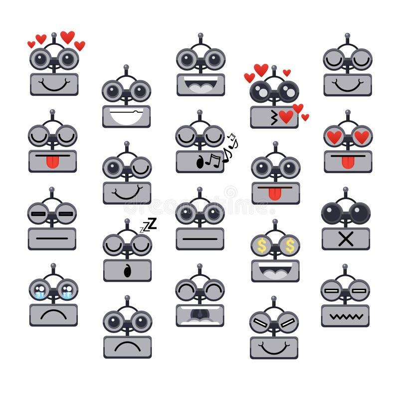 Πρόσωπο ρομπότ κινούμενων σχεδίων που χαμογελά το χαριτωμένο σύνολο εικονιδίων συνομιλίας BOT συγκίνησης αρνητικό και θετικό διανυσματική απεικόνιση