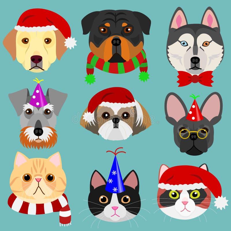 Πρόσωπο σκυλιών και γατών που τίθεται στη μόδα Χριστουγέννων απεικόνιση αποθεμάτων