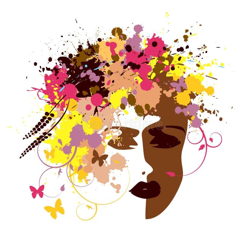 Πρόσωπο της αφηρημένης γυναίκας - διάνυσμα απεικόνιση αποθεμάτων